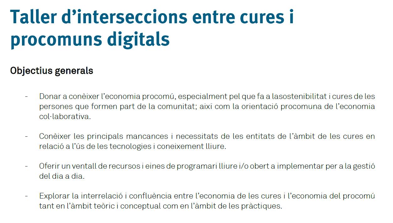 Taller per a la detecció d'interseccions entre l'àmbit de cures i els procomuns digitals